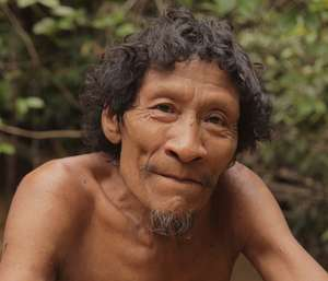 Awá man Karapiru witnessed the massacre of his family by outsiders, Brazil.