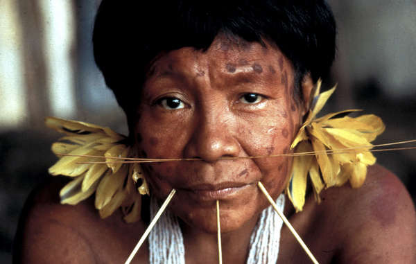 Yanomami woman. Mining is bringing devastation to the land of the Yanomami, Ye'kuana and Sanema Indians.