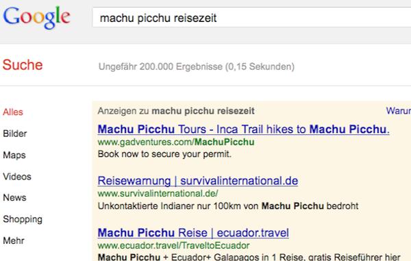 Eine Google-Anzeige warnt Touristen über die Gefahren für unkontaktierte Völker.