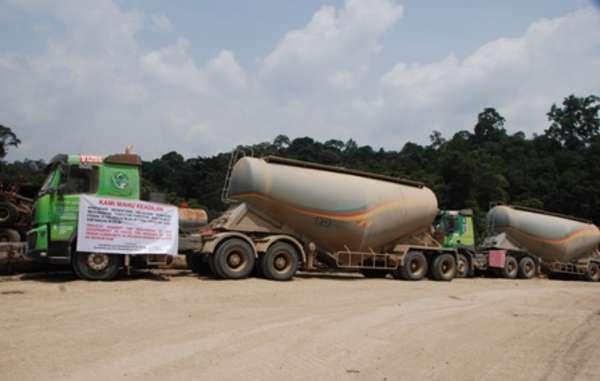 """The protest has left cement tankers stranded by the roadside."""