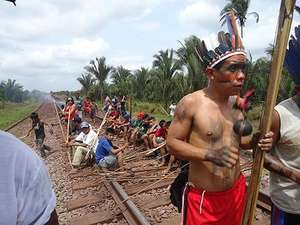 Indians blockade key railway to demand their land rights are respected.