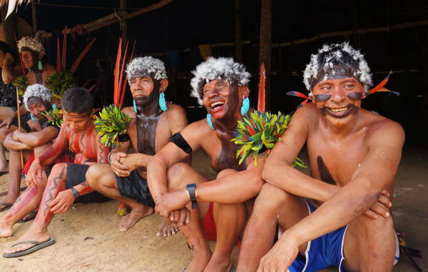 Yanomami celebrating the end of Hutukara Yanomami Association's seventh Assembly. Hutukara Yanomami Association was formed in 2004 by Yanomami members from eleven different regions in Brazil