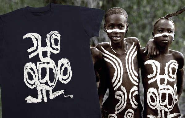 La maglietta di Survival per i popoli della valle dell'Omo riproduce una pittura corporale dei Mursi.