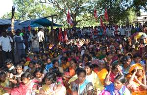 Thousands marched to voice their continued opposition to plans to mine the Niyamgiri Hills.