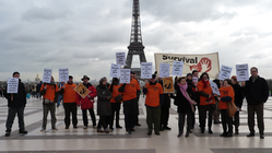 Protesters gathered in Paris, France, to call on Brazil to save the Awá.