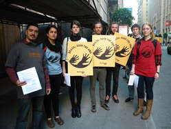 Protesters gathered in front of the Brazilian consulate in San Francisco, California to call on Brazil to save the Awá.