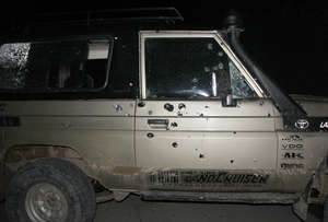 Arhuaco leader Rogelio Mejía was hit three times when his vehicle was attacked by gunmen.