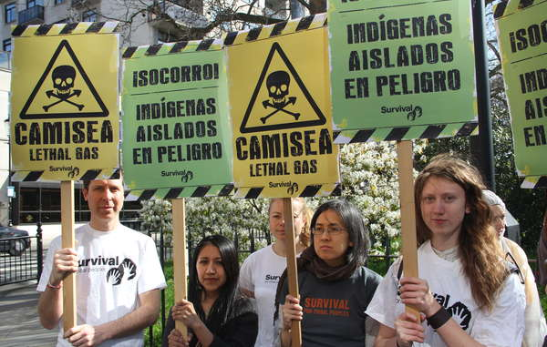 Protesters called for an end to the expansion of the Camisea gas project.