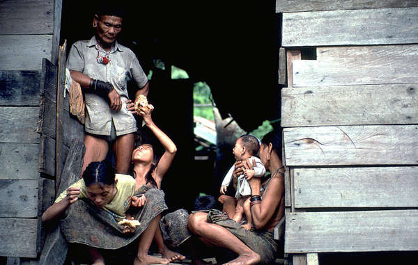 A Penan family. The tribe have been the subject of several defamatory stories in Malaysia's press.