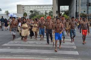 Brazilian Indians have protested across the country against a series of government projects which could seriously harm their lands and livelihood.