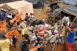 Guarani Indians evicted from their land, now camping by a highway.