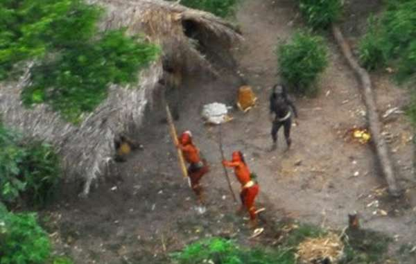 It is thought that uncontacted Indians in Peru have been pushed over the border into Brazil due to rampant illegal logging of their rainforest (photograph taken in 2008)