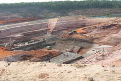 A dam being built in the Brazilian Amazon rainforest. 