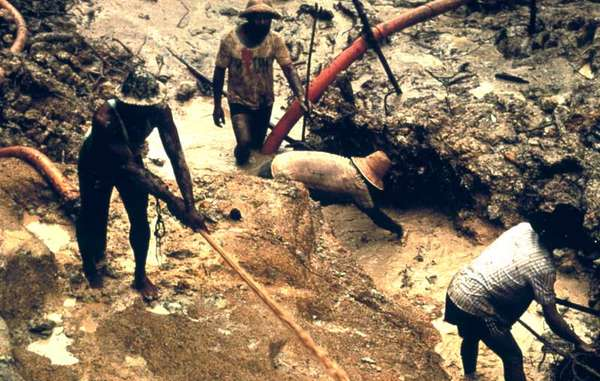 Hundreds of gold miners work illegally on Yanomami land in Brazil and Venezuela.