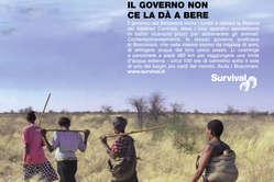 Particolare della campagna pubblicitaria mondiale di Survival in versione italiana.