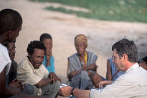 Survival's Director Stephen Corry with Bushmen of the central Kalahari.