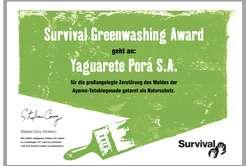 Survivals Greenwashing Award geht an Viehzucht-Unternehmen Yaguarete Porá. © Survival