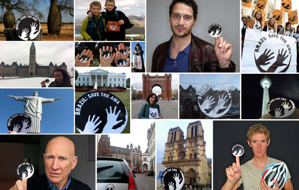 De nombreuses personnalités et des centaines de sympathisants ont photographié le logo de la campagne dans 38 pays en soutien à l'action de Survival en faveur des Awá.