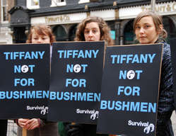 Protestors outside Tiffany's store, London. Jeweller Tiffany's faces protests in five countries over its controversial activities in Botswana.