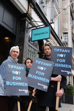Protestors outside Tiffany's store in London