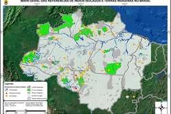 La FUNAI a créé cette carte qui montre les zones (en vert foncé) habitées par des tribus isolées.