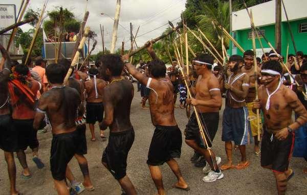 Yanomami und Yekuana protestieren gegen illegale Goldgräber. Roraima, Brasilien
