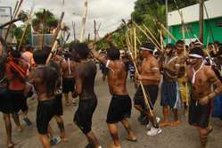 Yanomami and Yekuana Indians protest against goldminers. Roraima state, Brazil