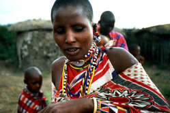 Maasai at the cultural 'manyatta' of Maasai Mara Game Reserve, Kenya.