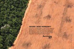 Survivals neue Anzeigen-Kampagne ruft zum Schutz der Ayoreo auf.