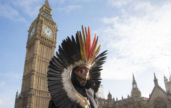 """Nixiwaka Yawanawá, an Amazon Indian in London, has described London as a city 'rich in history and filled with ghosts'."""