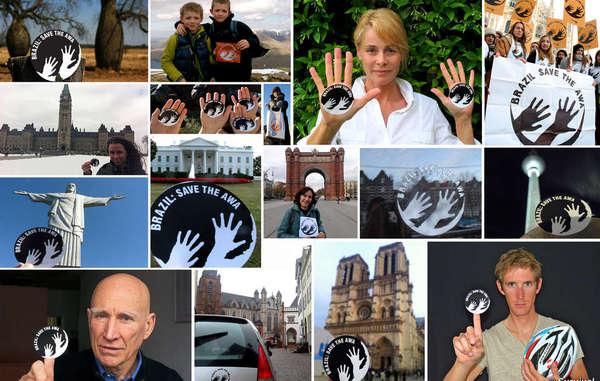 Decenas de personalidades y centenares de simpatizantes de 38 países se fotografiaron con el iconoawá para apoyar la campaña de Survival por los awás.