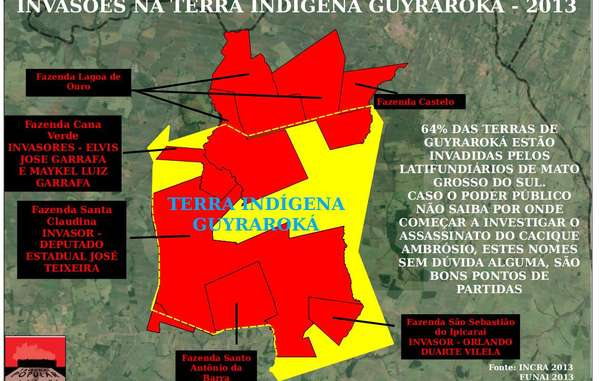 Sugar cane plantations (in red) occupy most of the ancestral land (yellow outline) of Ambrósio's community.