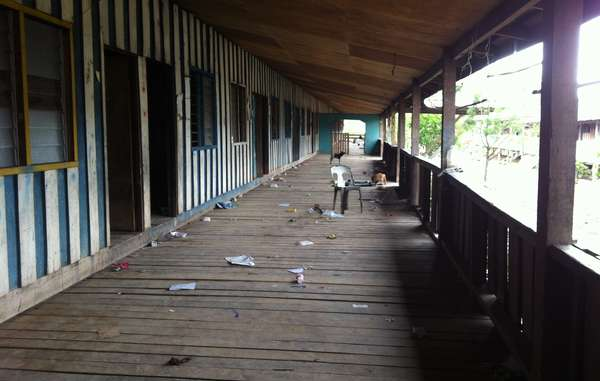 """The abandoned Long Singu longhouse last week after the government rushed through the Penan's move to the unfinished relocation site."""
