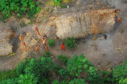 Uncontacted Indians in Brazil seen from the air during a Brazilian government expedition, Acre, May 2008.
