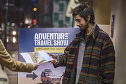 Protestors handed out leaflets to visitors of the Adventure Travel Show in London.