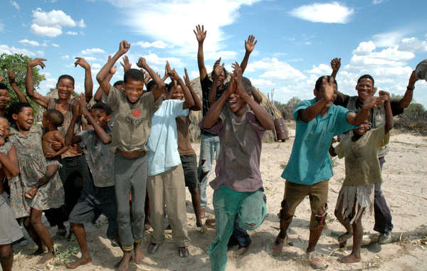 Bushmen in Metsiamenong celebrate their victory in 2006.