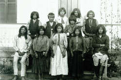 Apache children before being taken from their families and sent to a white-run school. USA, 19th Century.