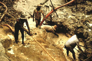 Illegal goldminers operating on Yanomami land pollute the environment on which the Yanomami depend for their survival.
