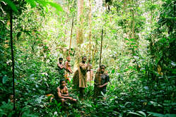 Pygmies are experts of the forest. Here they are pictured in the Democratic Republic of Congo.