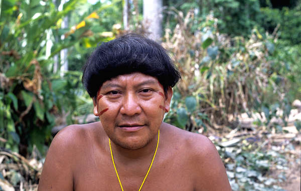 """Yanomami shaman and spokesman, Davi Kopenawa. Illegal mining is putting the Yanomami's lives at risk."""
