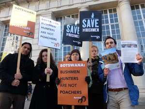 Vocal protests were held outside the 'London Conference on the Illegal Wildlife Trade 2014' today to highlight the plight of Africa's last hunting Bushmen.