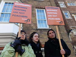 Protesters outside the 'London Conference on the Illegal Wildlife Trade 2014'.