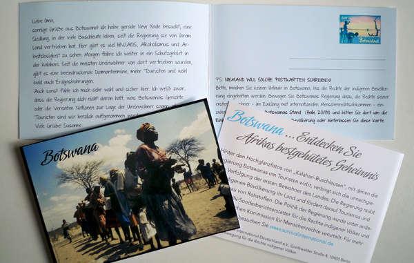 Survival-Unterstützer werden Besucher der ITB-Messe in Berlin auf Menschenrechtsverletzungen in Botswana aufmerksam machen.