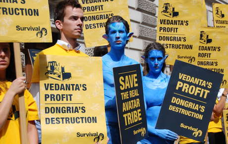 Vedanta's CEO was confronted by a large number of protesters from various NGOs.