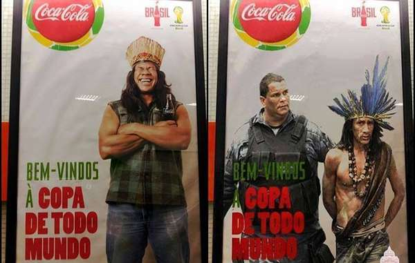 """""""'Allen ein Willkommen bei der WM': Aktivisten haben ein Coca-Cola-Poster sabotiert, das mit einem Indigenen wirbt."""""""