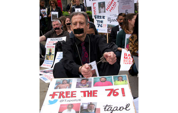 """Human rights activist Peter Tatchell took part in the protest today in London."""