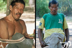 Chiri Etacore healthy in 2000 (left) , and seriously ill with a TB-like illness in 2011 (right). He died in 2013.