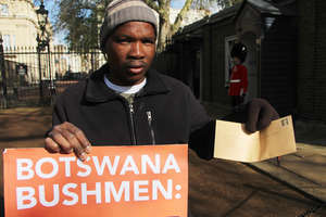 Jumanda Gakelebone, a Bushman from Botswana, sent a letter from the Bushman organization First People of the Kalahari to Prince Charles today, telling him that the Bushmen are not poachers, they hunt to survive.