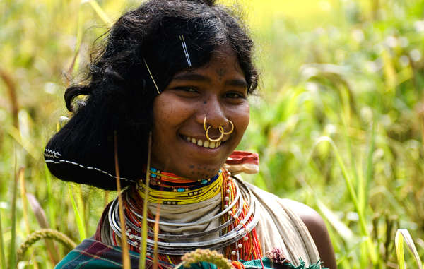 Dongria Kondh woman in millet field, Orissa, India
