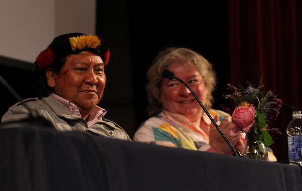 Davi Yanomami gave several enlightening talks and sold and signed copies of his new book 'The Falling Sky'